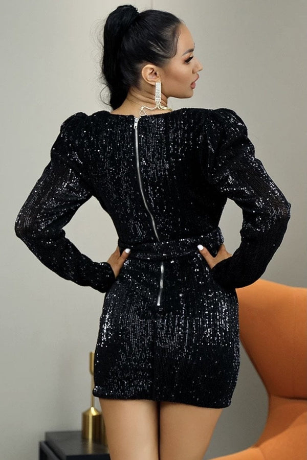Jessica Bara Kelly Long Sleeve Sequin Belted Mini Dress