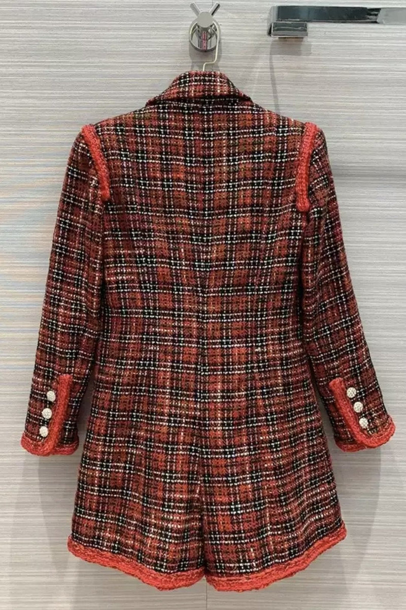 Jessica Bara Nathaniel Long Sleeve Tweed Belted Romper