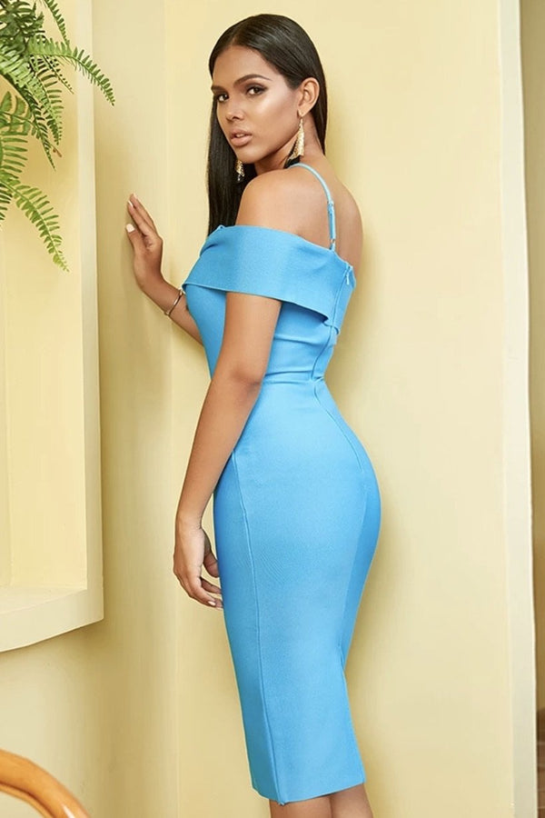 Jessica Bara Indy One Shoulder Bodycon Midi Dress