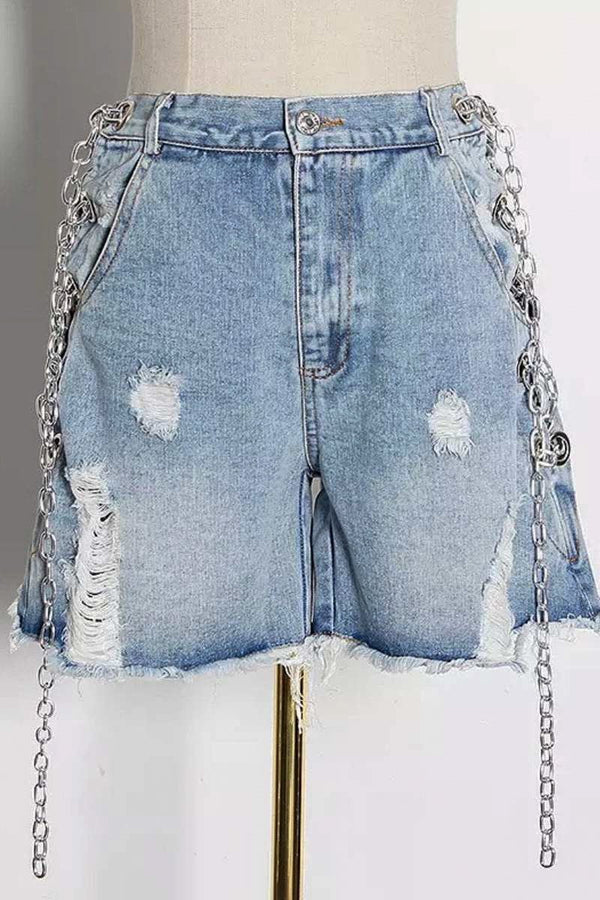 Jessica Bara Adecyn High Waisted Distressed Chain Shorts