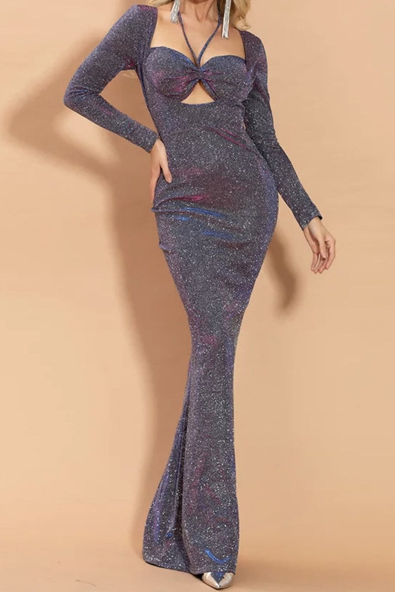 Jessica Bara Erika Glitter Cut Out Bodycon Maxi Dress
