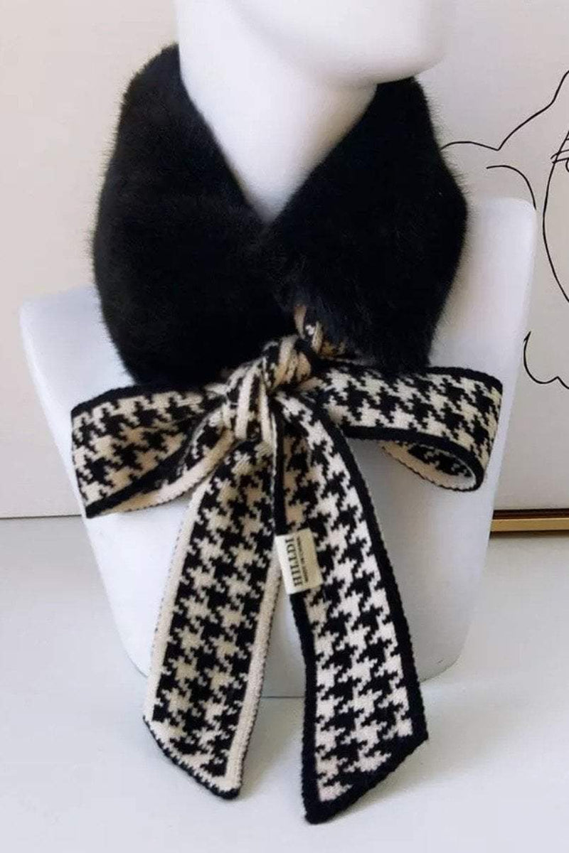 Jessica Bara Darian Houndstooth Faux Fur Neck Warmer Collar