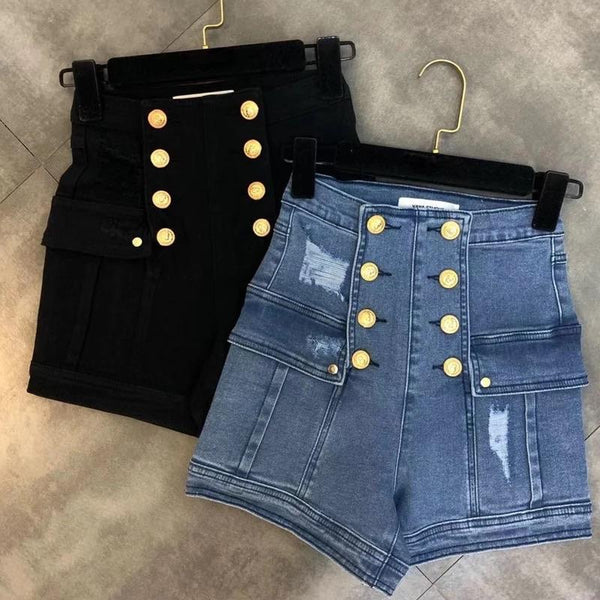 Jessica Bara Luann High Waisted Denim Shorts