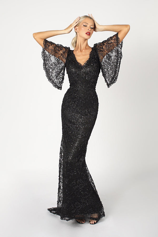 Nicole Bakti Wide Sleeve Lace Bodycon Gown