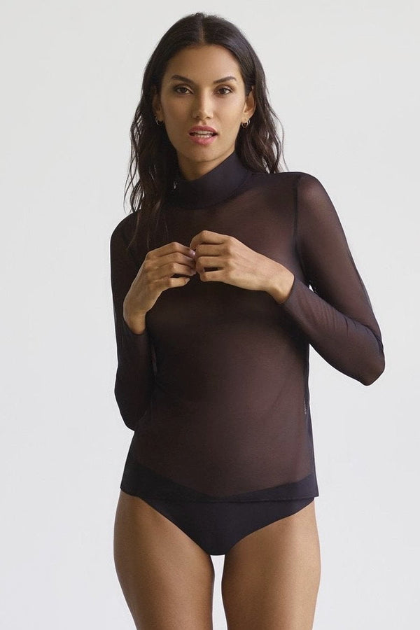 Commando Sheer Mesh Turtleneck Top