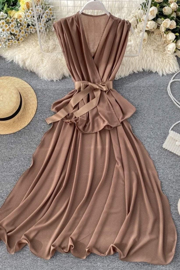 Jessica Bara Matilda Sheer Belted Maxi Top