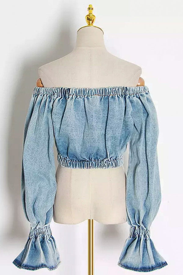 Jessica Bara Tayah Off The Shoulder Denim Crop Top