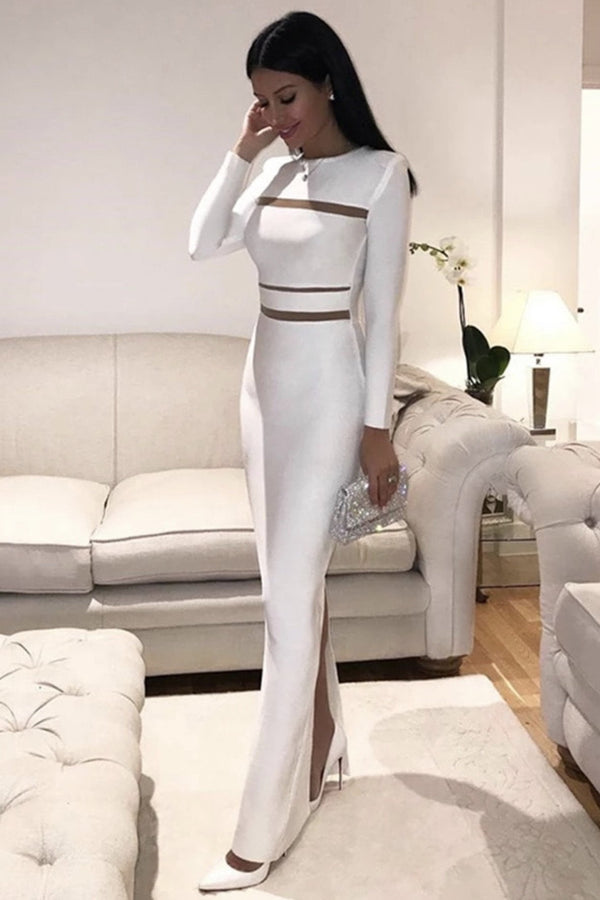 Jessica Bara Corrine Long Sleeve Cut Out Maxi Dress