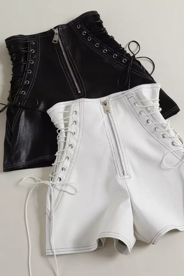 Jessica Bara Ivan Lace Up High Waisted Leather Shorts