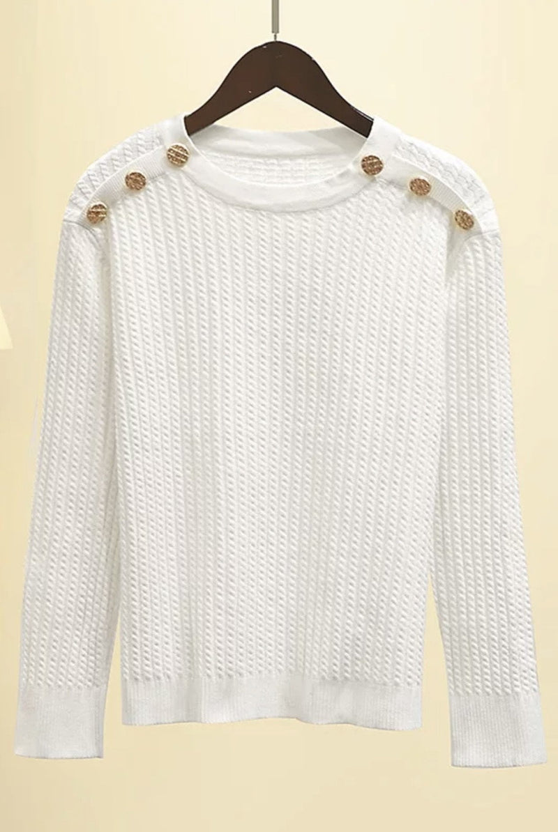 Jessica Bara Revel Gold Button Knit Long Sleeve Top