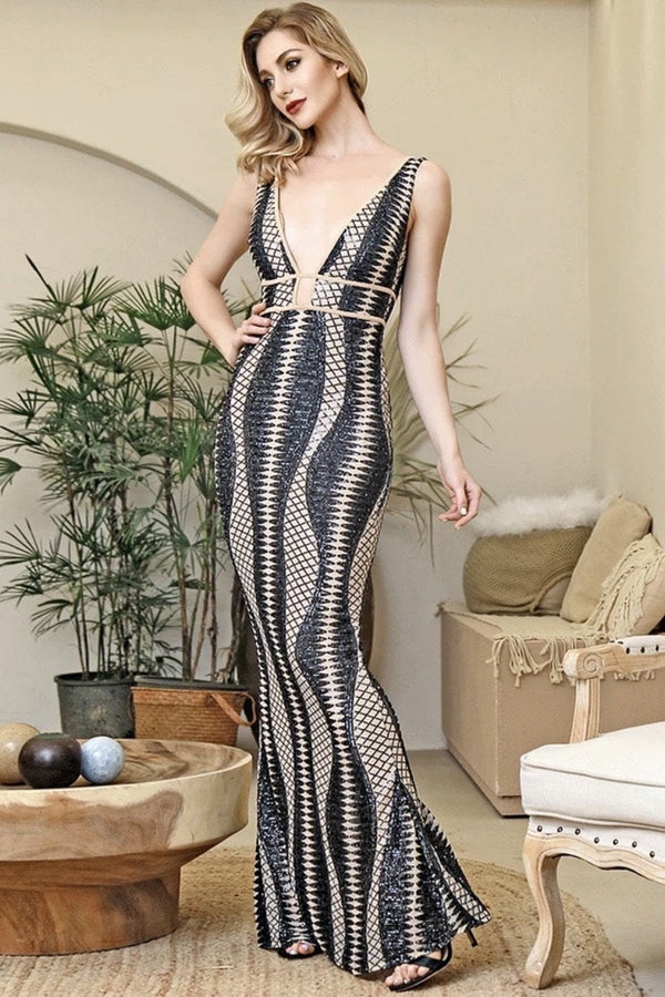 Jessica Bara Benny V Neck Beaded Bodycon Gown