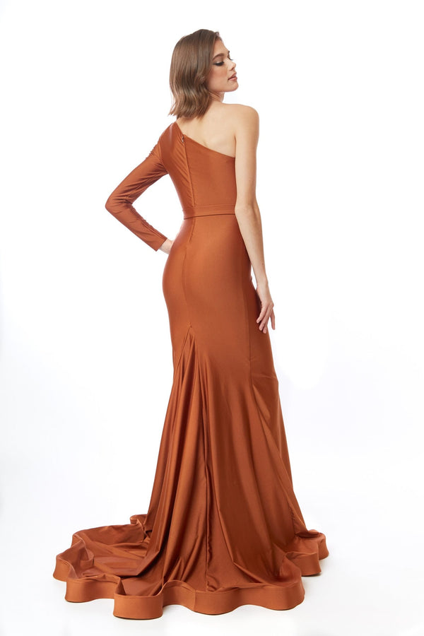 Atria One Shoulder Leg Slit Gown