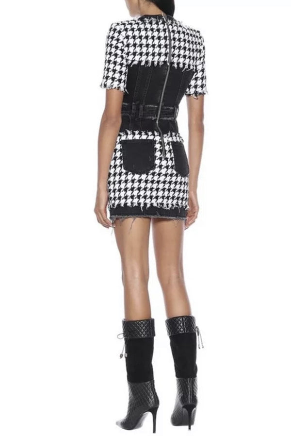 Jessica Bara Natalie Houndstooth Denim Mini Dress