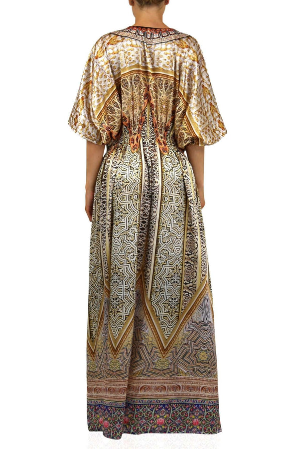 Colors Of Fashion Satin Kaftan Maxi Dress