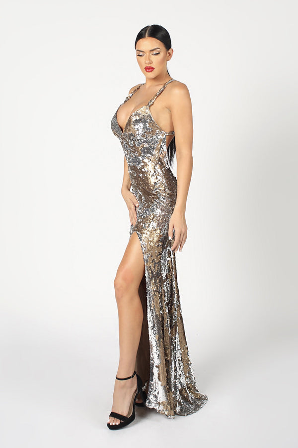 Nicole Bakti V Neck Metallic Bodycon Gown