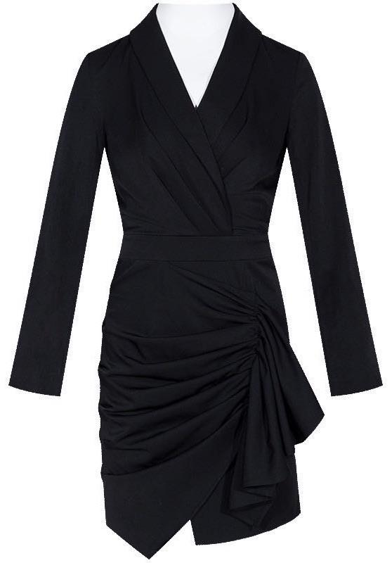 Jessica Bara Asher Draped Deep V Mini Dress