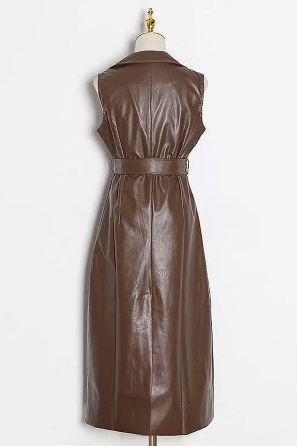 Jessica Bara Gael PU Belted Maxi Dress