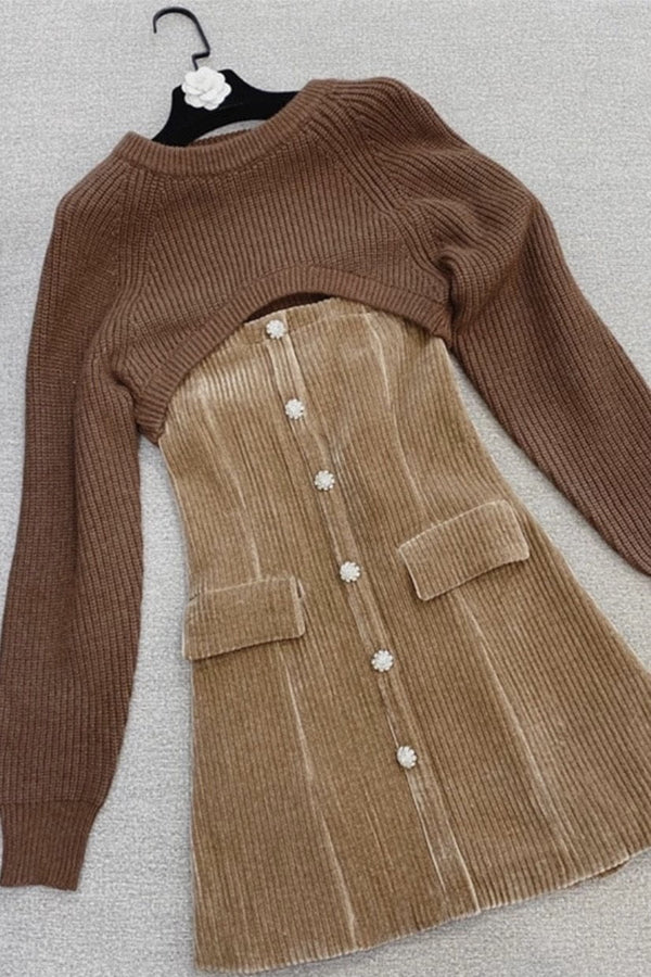 Jessica Bara Corrine Corduroy & Knitted Sweater Two Piece Set