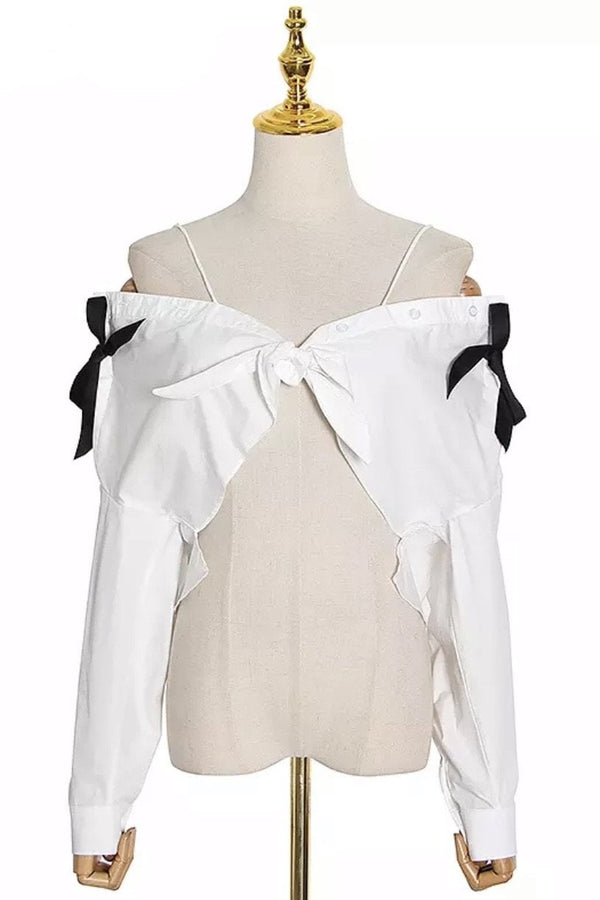 Jessica Bara Mina Off The Shoulder Bowknot Crop Top