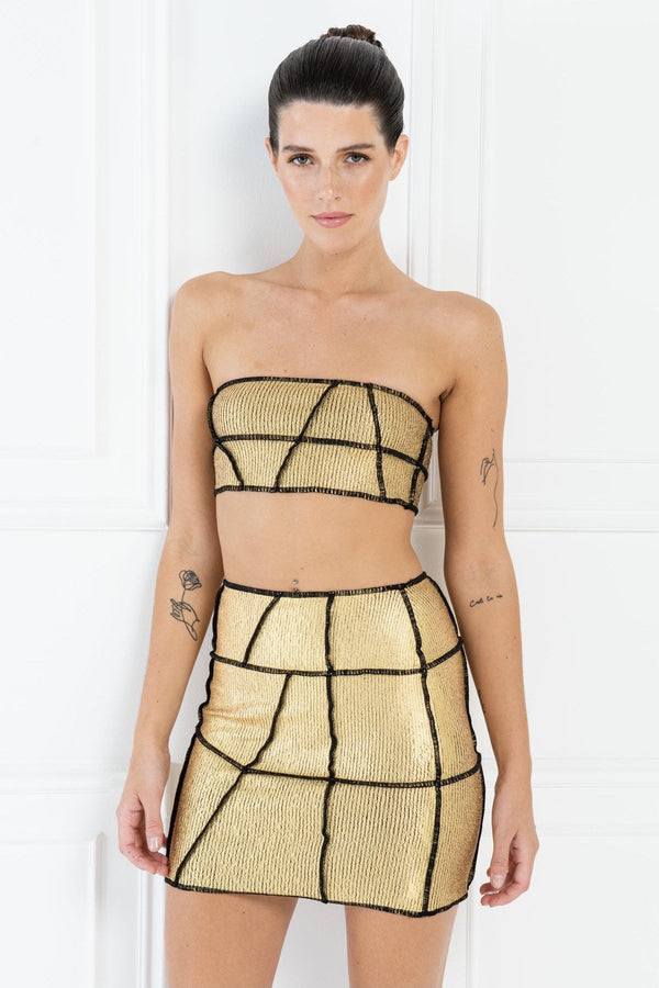 Jessica Bara Shauna Shiny Gold Overlock Seam Bodycon Skirt