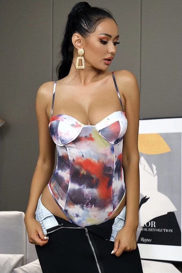 Jessica Bara Luz Abstract Tie-Dye Bodysuit