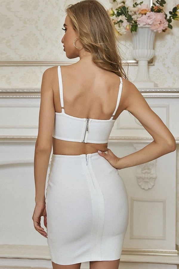 Jessica Bara Rhys Crop Top And Skirt Two Piece Set