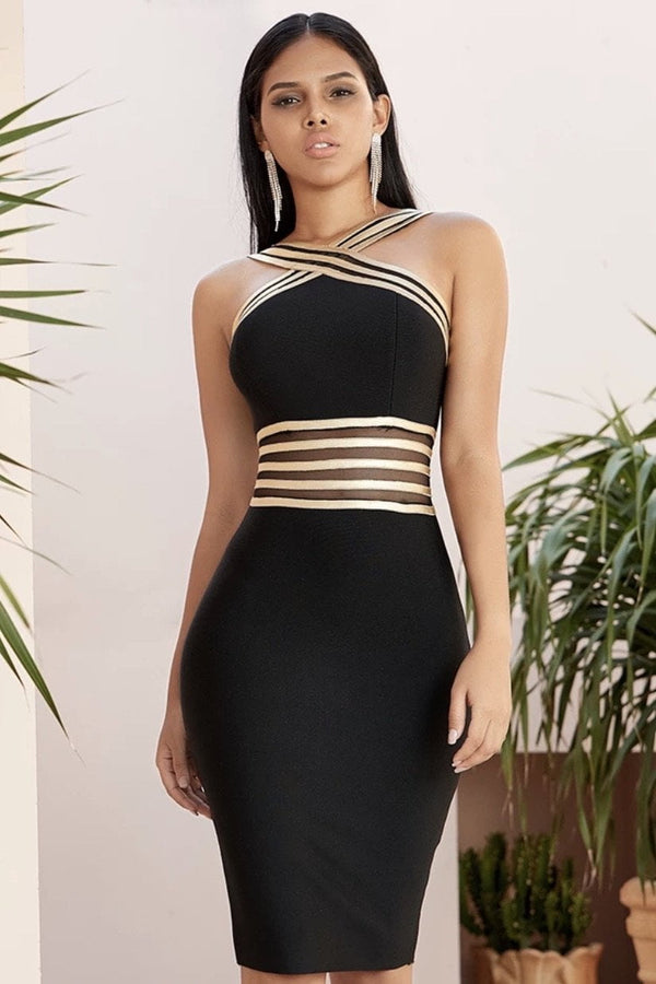 Jessica Bara Wrena Halter Neck Bandage Midi Dress