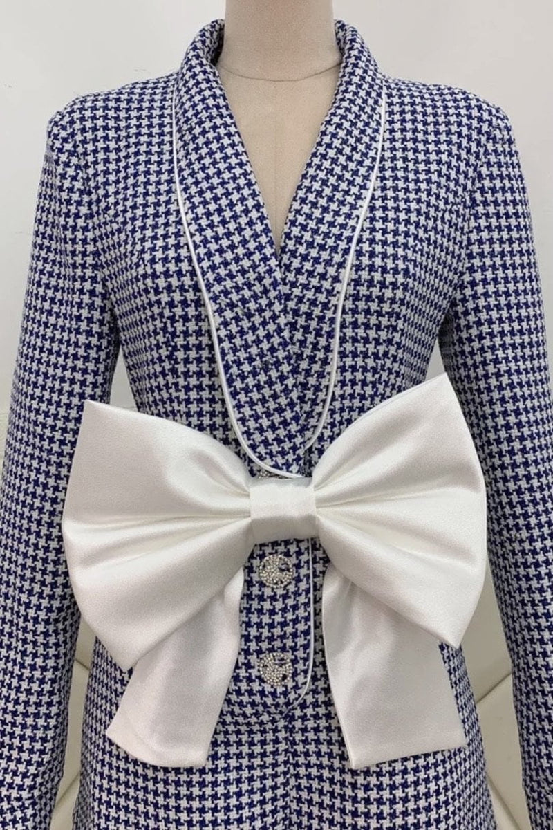 Jessica Bara Bowery Long Sleeve Plaid Bowknot Romper