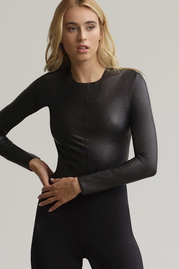 Commando Faux Leather Longsleeve Crew Bodysuit