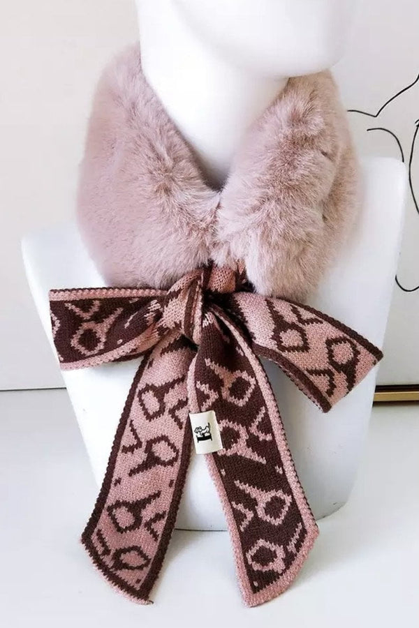 Jessica Bara Darian Printed Faux Fur Neck Warmer Collar