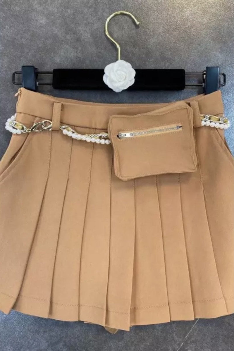 Jessica Bara Sammy Pleated Pearl Chain Belt Mini Skirt