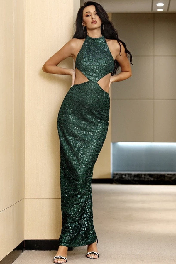 Jessica Bara Rena High Neck Glitter Cut Out Gown