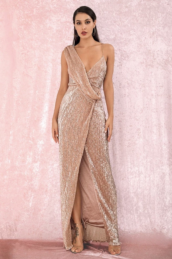 Jessica Bara Emilie One Shoulder Sequin Gown