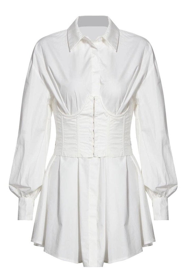 Jessica Bara Aubrey Long Sleeve Corset Shirt Dress