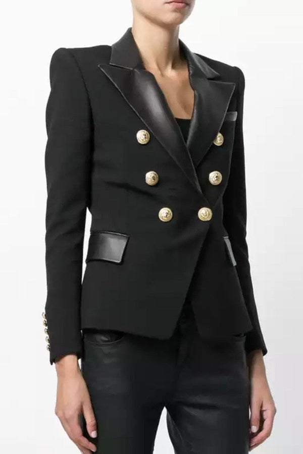 Jessica Bara Donatella Leather Trim Gold Button Blazer