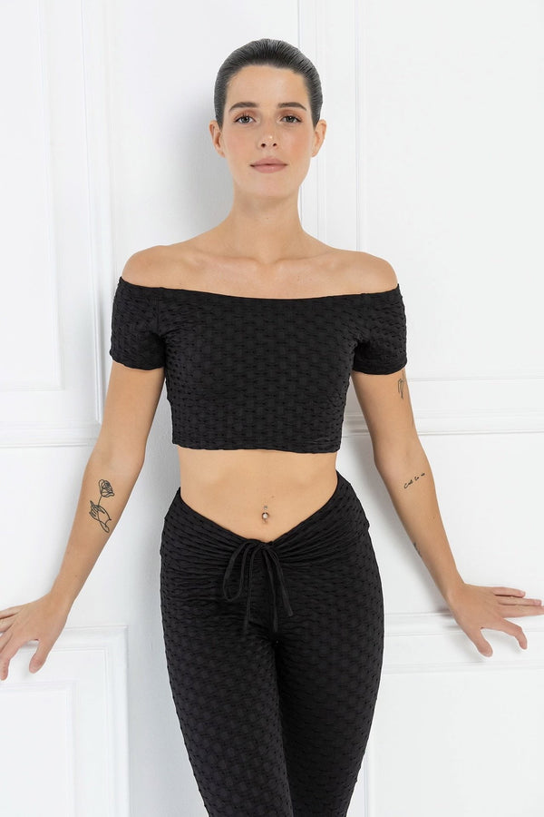 Jessica Bara Racquel Off the Shoulder Crop Top