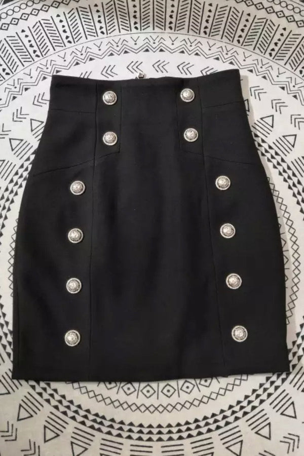 Jessica Bara Scottie High Waisted Button Mini Skirt
