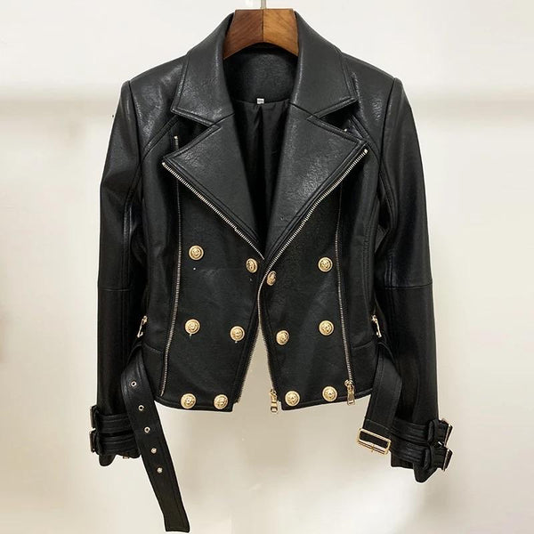 Jessica Bara Darren Faux Leather Motorcycle Biker Jacket