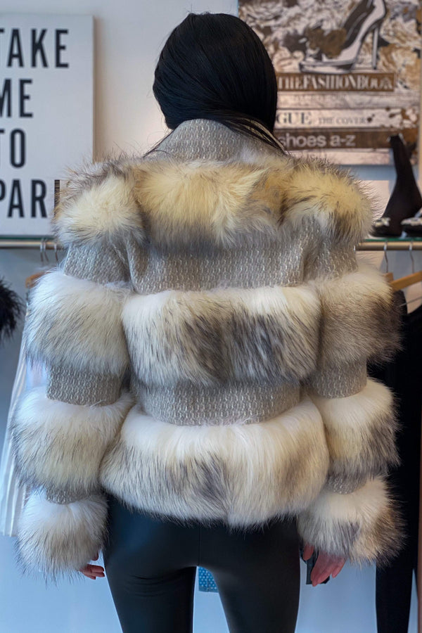 Jessica Bara Maritza Fur and Wool Jacket