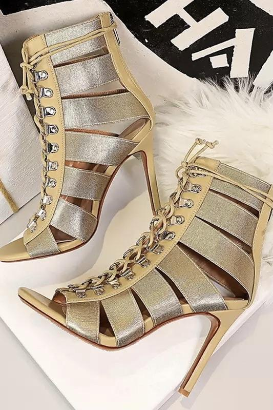 Jessica Bara Bethany Open Toe Lace Up Booties