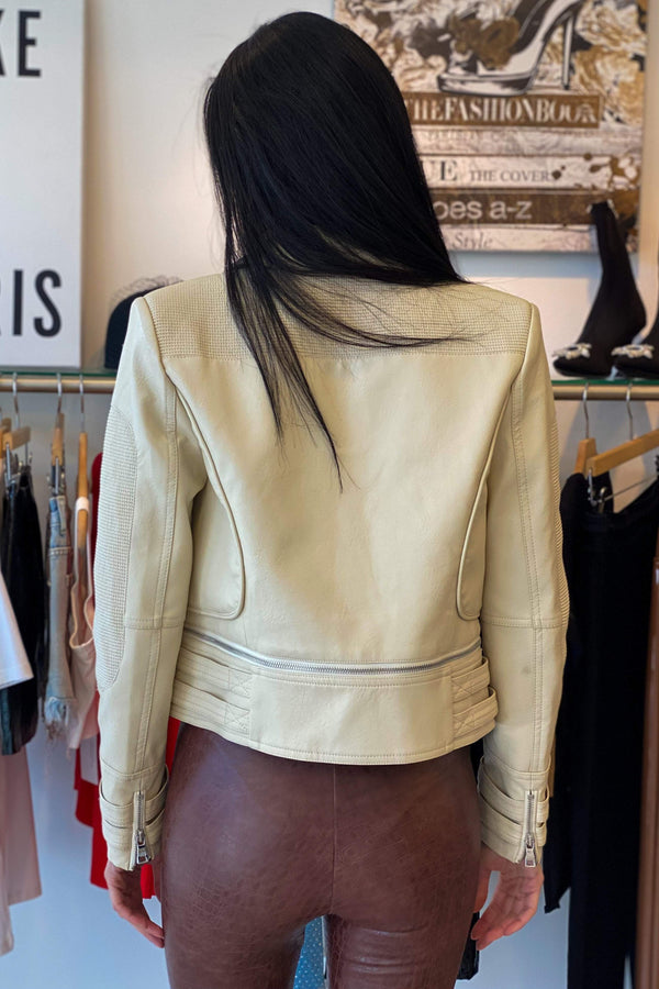 Jessica Bara Jeffie Long Sleeve Detachable Leather Jacket