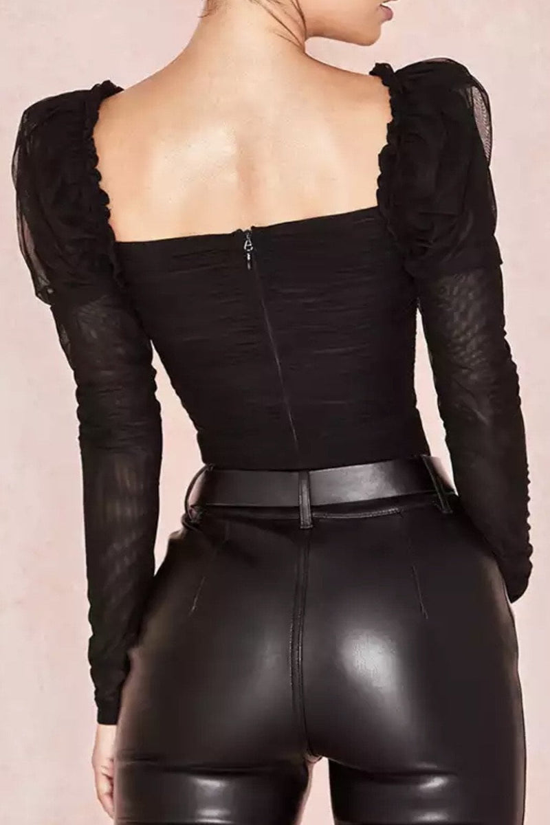 Jessica Bara Breanna Puff Shoulder Ruched Bodysuit