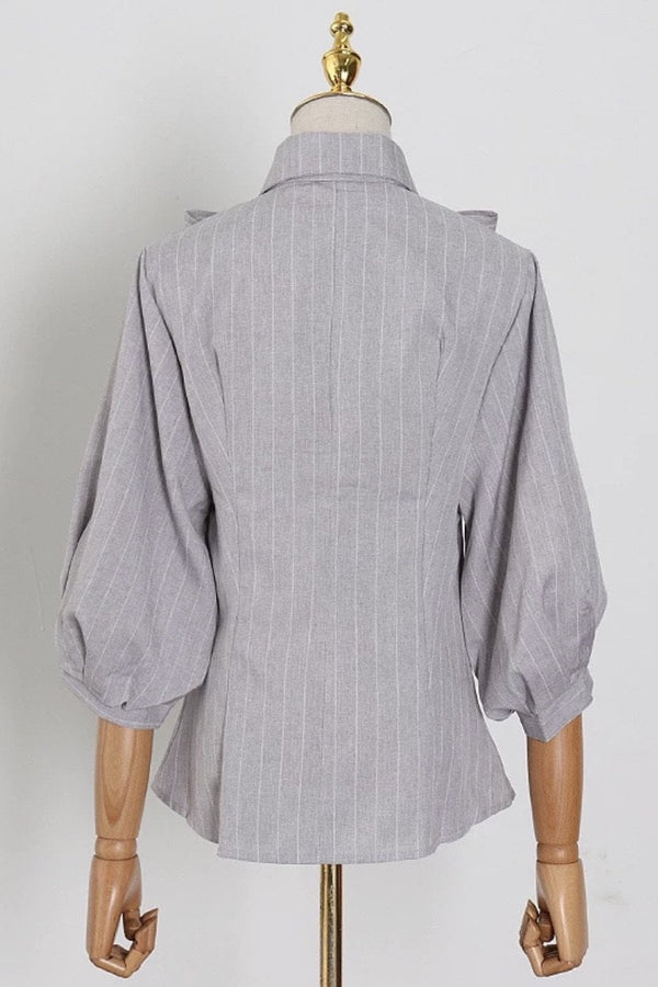 Jessica Bara Connor Bow Striped Button Down Shirt