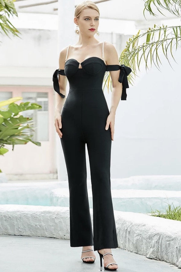 Jessica Bara Royal Pearl Strap Off The Shoulder Jumpsuit
