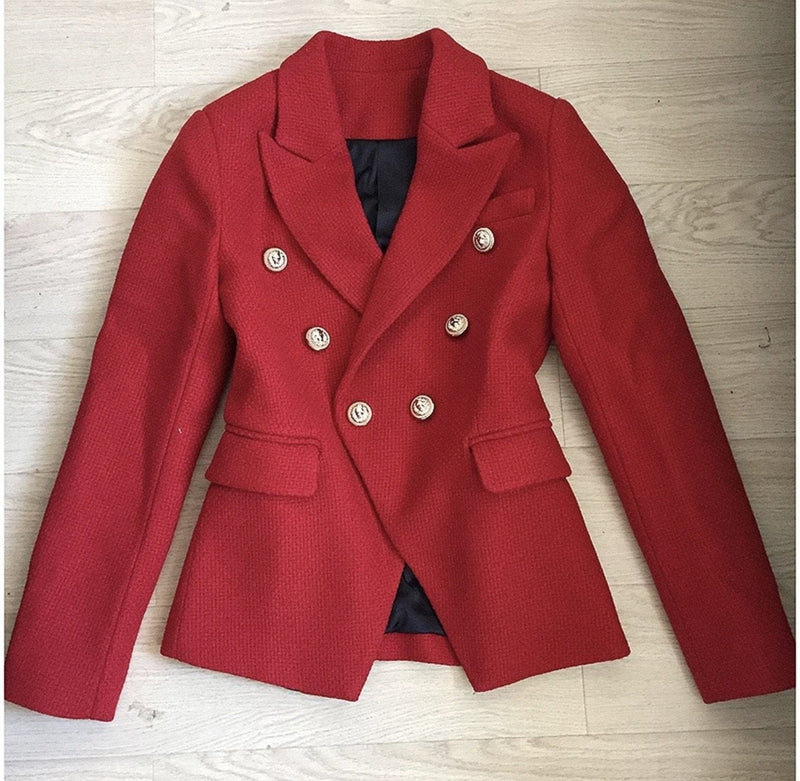 Jessica Bara Donatella Red Gold Button Wool Blazer