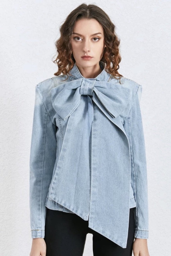 Jessica Bara Daniella Oversized Bow Denim Top