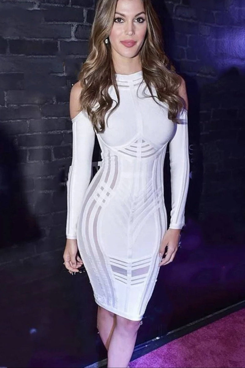 Jessica Bara Becca Long Sleeve Cut Out Bandage Midi Dress