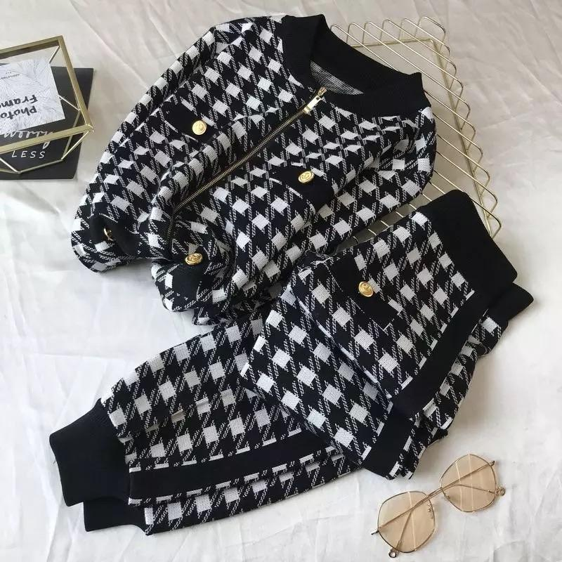 Jessica Bara Legend Houndstooth Hoodie And Jogger Two Piece Set