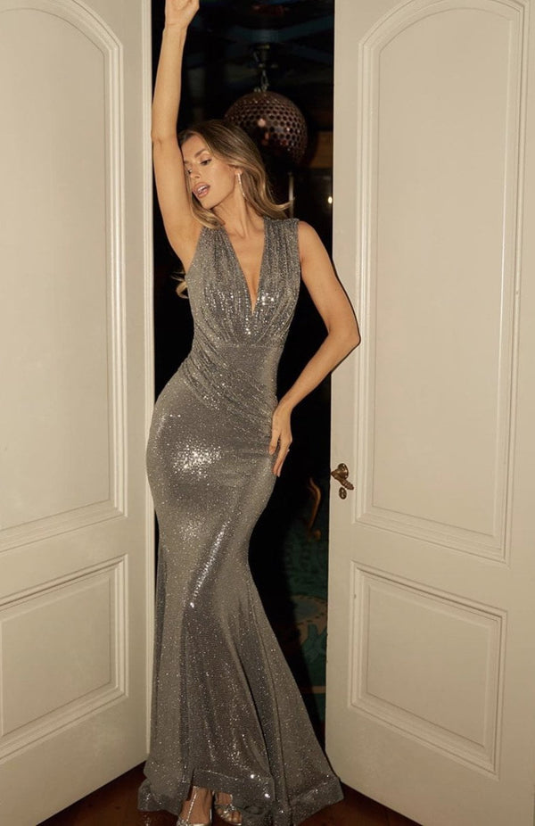 Jessica Bara Stacie Glitter V Neck Bodycon Gown