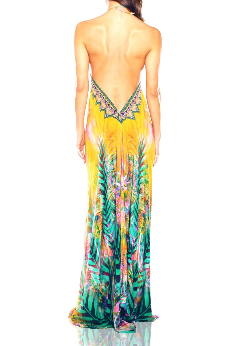 Shahida Parides Halter Backless Tropical Print Maxi Dress
